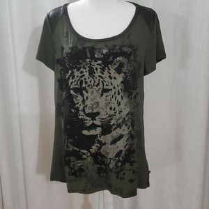 Rock & Republic leopard tee with velvet 3d look